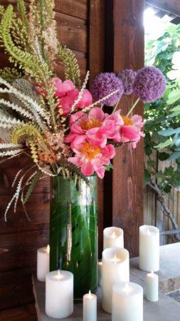 flowers on bar