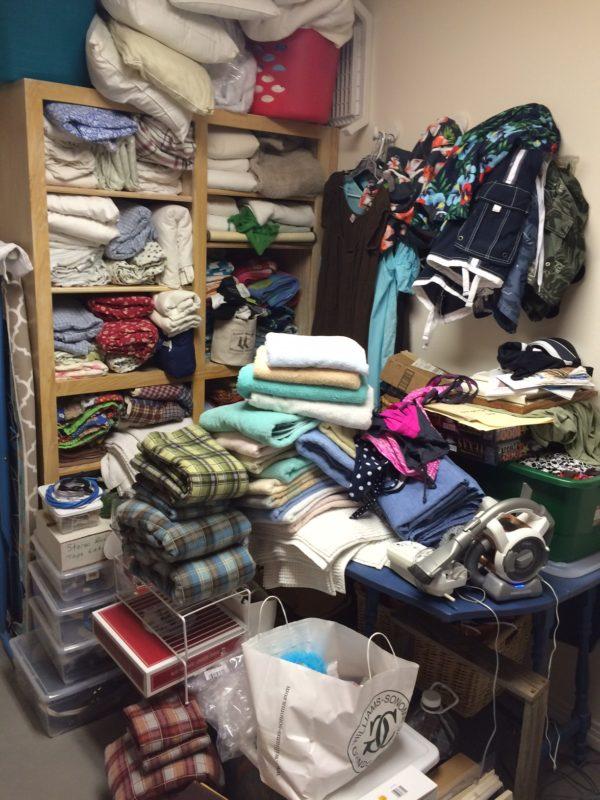 julie laundry room pile of stuff