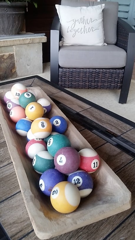 pool balls and chair