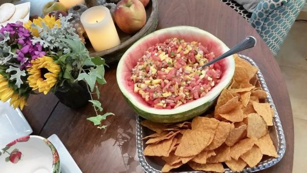 watermelon salsa on table
