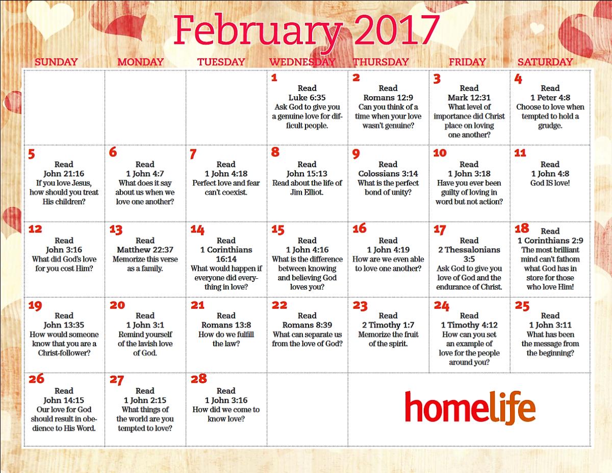 February Devotional Calendar