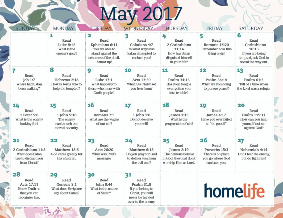 Month of May Scripture Calendar