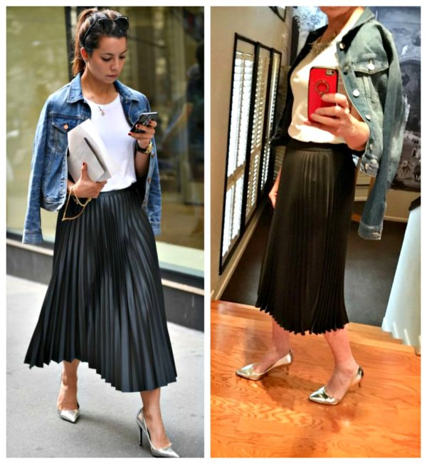 bfbd8c938 With the black pleated skirt, I copied a few outfits on our Pinterest  board. One shows a pleated skirt worn with a white t-shirt, silver metallic  flats or ...