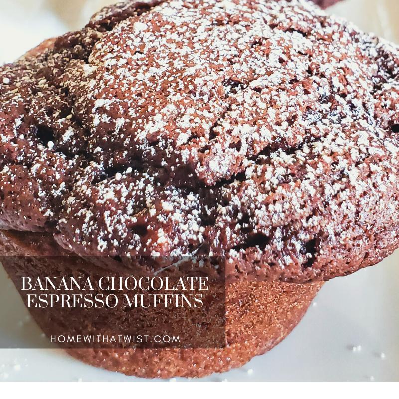 Banana Chocolate Espresso Swirl Muffins